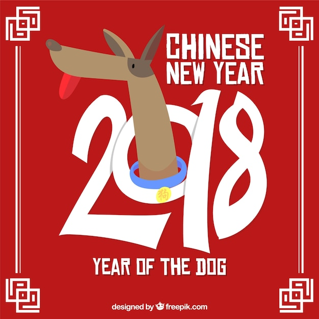 Vlakke chinese nieuwe jaarachtergrond Gratis Vector