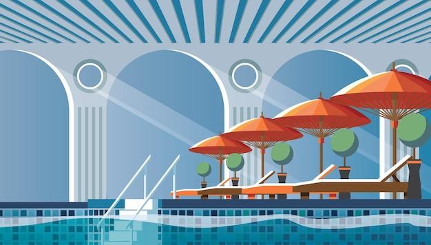 Vlakke compositie aan het zwembad met ligbedden Gratis Vector