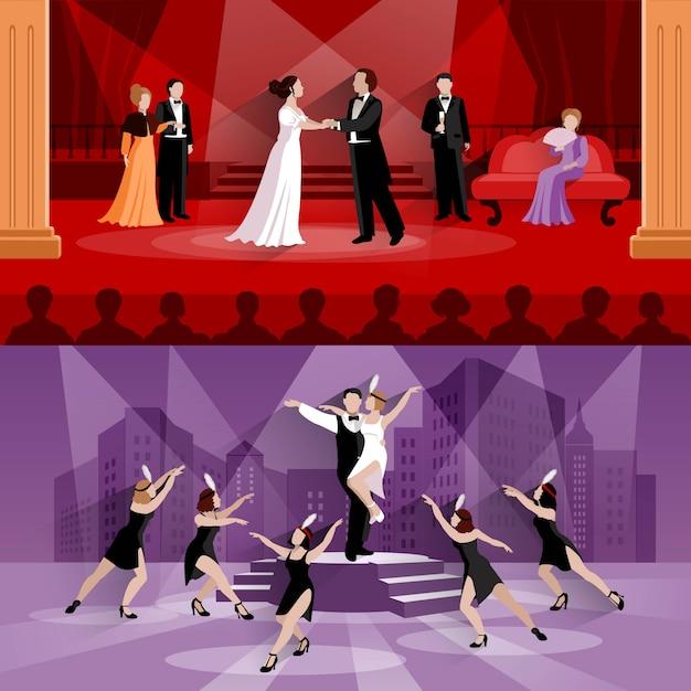 Vlakke composities van twee theatertaferelen Gratis Vector