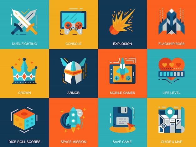 Vlakke conceptuele pictogrammen van de concepten van het vrije tijd mobiele gokken plaatsen Premium Vector