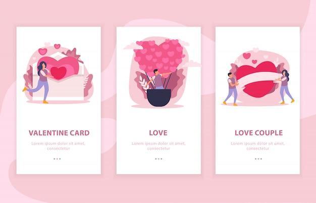 Vlakke de samenstellingsbanner van het liefdepaar die met valentijnskaartkaart en de illustratie van liefdebeschrijvingen wordt geplaatst Gratis Vector