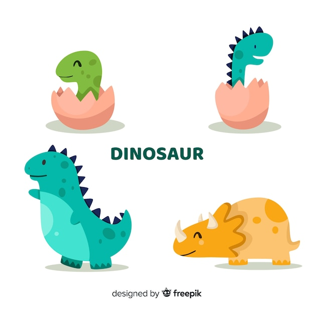 Vlakke dinosauruscollectie Gratis Vector