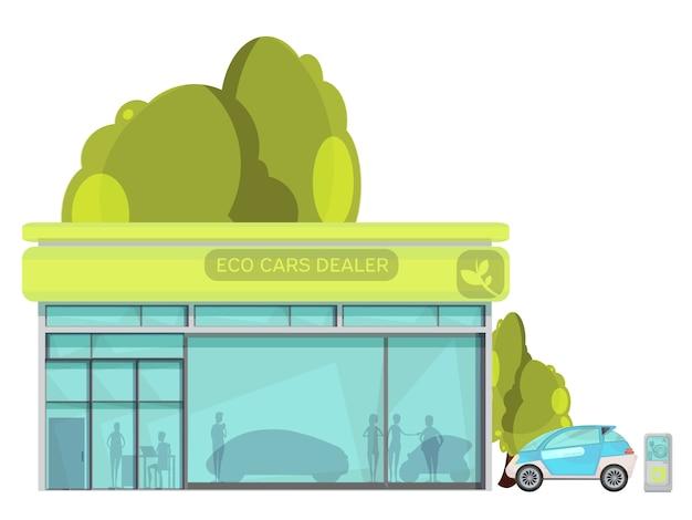 Vlakke ecovriendelijke elektrische auto's dealer centrum op witte achtergrond Gratis Vector