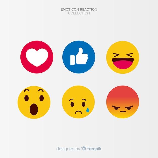 Vlakke emoticon-reactiecollectio Premium Vector