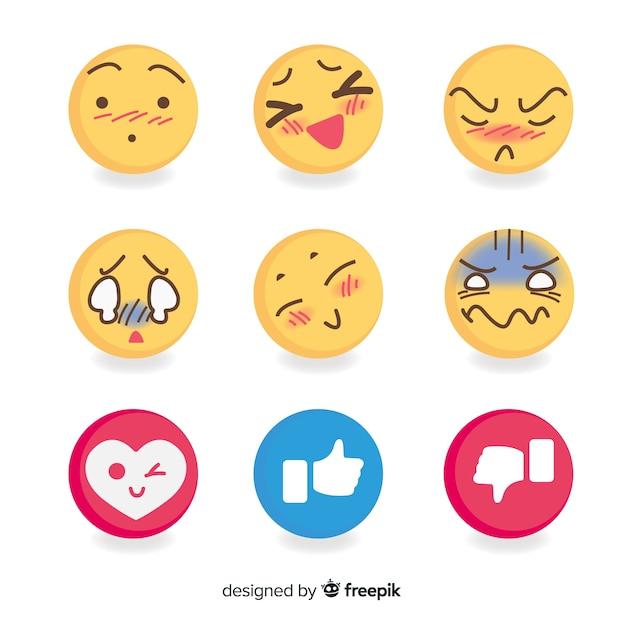 Vlakke emoticon-reactiecollectio Gratis Vector