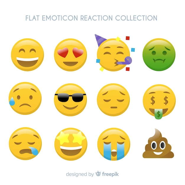 Vlakke emoticon-reactiecollectio Gratis Vector