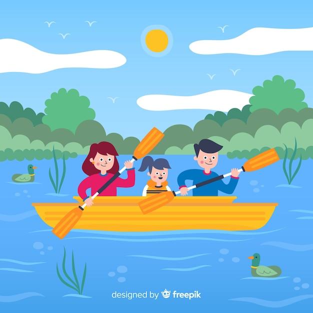 Vlakke familie die van de zomervakantie geniet Gratis Vector