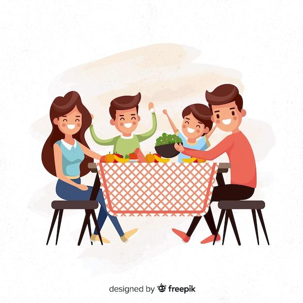 Vlakke familie rond de tafel Gratis Vector