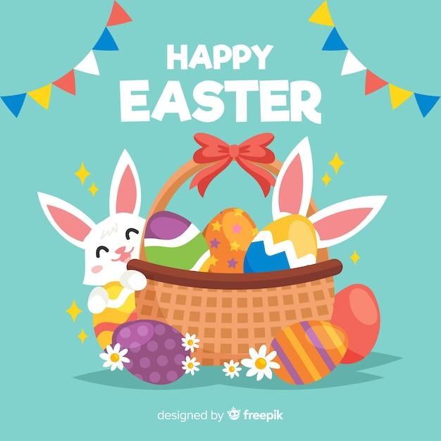 Vlakke gelukkige Pasen-dagachtergrond Gratis Vector