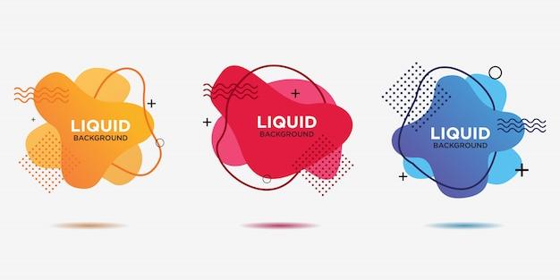 Vlakke geometrische vormen van verschillende kleuren met overzicht in memphis-ontwerpstijl. Premium Vector