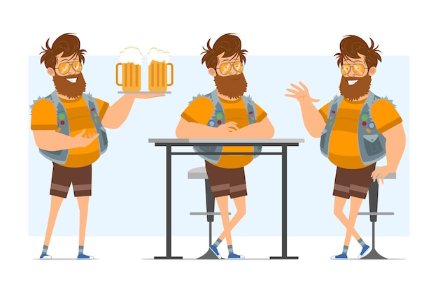Vlakke grappige bebaarde dikke hipster man stripfiguur in spijkerbroek jerkin en zonnebril. klaar voor animatie. jongen die bier op dienblad houdt en hallo zegt. geïsoleerd op blauwe achtergrond. Premium Vector