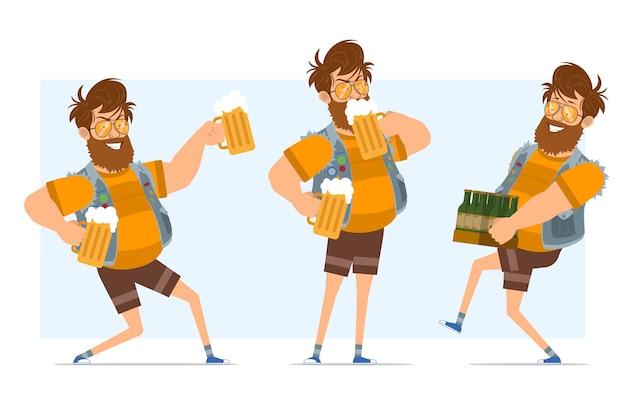 Vlakke grappige bebaarde dikke hipster man stripfiguur in spijkerbroek jerkin en zonnebril. klaar voor animatie. jongen met flessen, bier vasthouden en drinken. geïsoleerd op blauwe achtergrond. Premium Vector