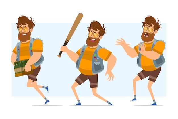 Vlakke grappige bebaarde dikke hipster man stripfiguur in spijkerbroek jerkin en zonnebril. klaar voor animatie. jongen met honkbalknuppel en rennen met bier. geïsoleerd op blauwe achtergrond. Premium Vector