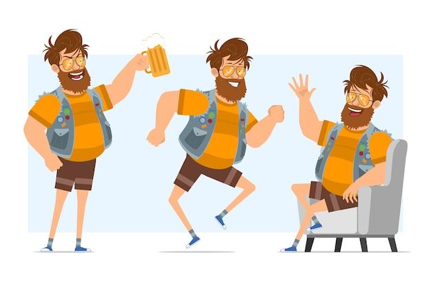 Vlakke grappige bebaarde dikke hipster man stripfiguur in spijkerbroek jerkin en zonnebril. klaar voor animatie. jongen rusten, dansen en bier houden. geïsoleerd op blauwe achtergrond. Premium Vector