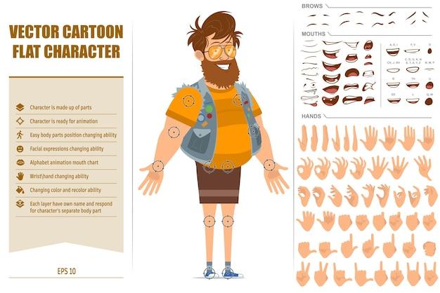 Vlakke grappige dikke hipster man stripfiguur in jerkin en zonnebril. klaar voor animatie. gezichtsuitdrukkingen, ogen, wenkbrauwen, mond en handen gemakkelijk te bewerken. geïsoleerd op witte achtergrond. Premium Vector