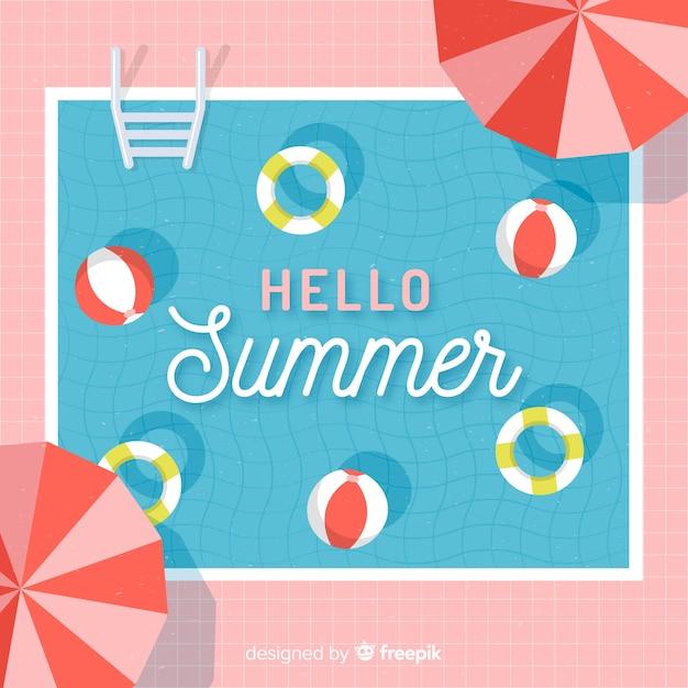 Vlakke hallo zomer achtergrond bij het zwembad Gratis Vector
