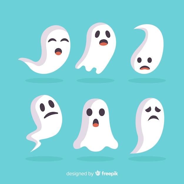 Vlakke halloween-spoken die grappige gezichten maken Gratis Vector