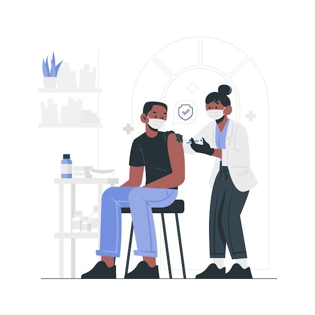 Vlakke hand getekende arts vaccin injecteren aan een patiënt Gratis Vector