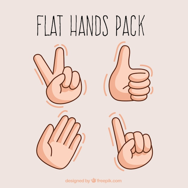 Vlakke handen illustratie Gratis Vector