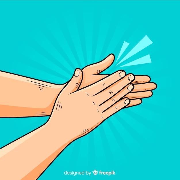 Vlakke handen klappen achtergrond Gratis Vector