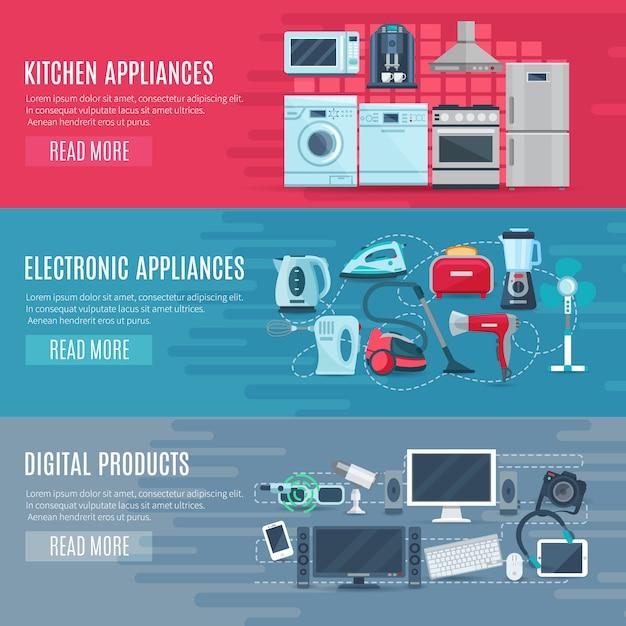 Vlakke horizontale huishoudelijke banners set van keukenapparatuur elektronische apparaten en digitale product Gratis Vector
