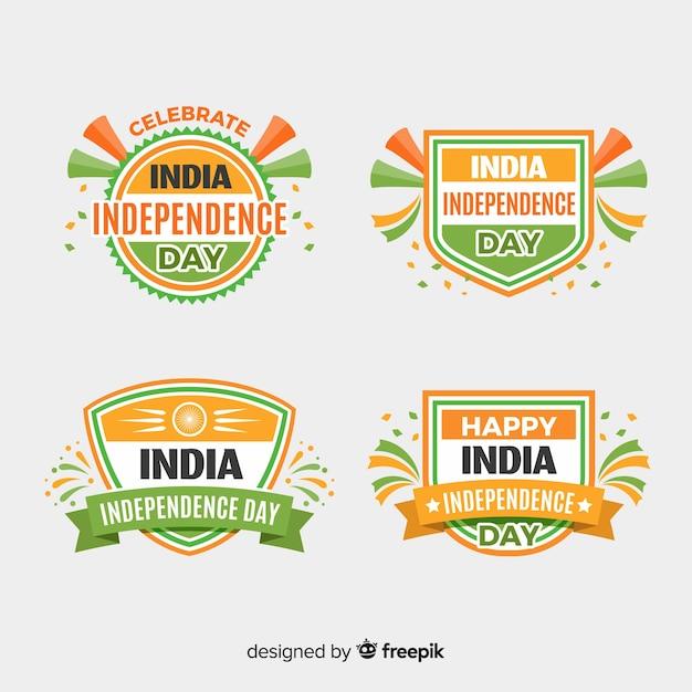 Vlakke india onafhankelijkheidsdag kenteken collectie Gratis Vector