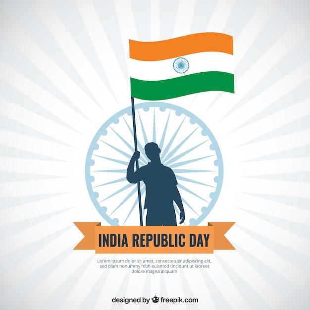 Vlakke india republiek dag achtergrond Gratis Vector