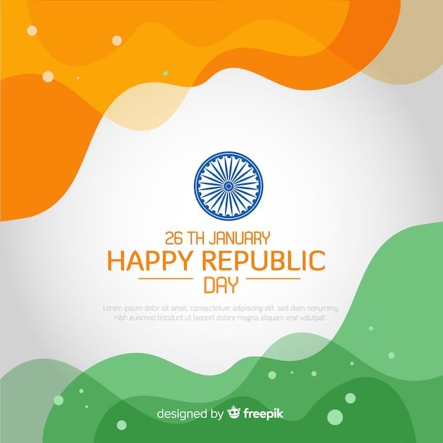 Vlakke indiase republiek dag achtergrond Gratis Vector