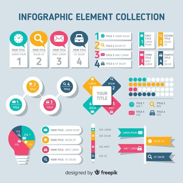 Vlakke infographic elementeninzameling Gratis Vector