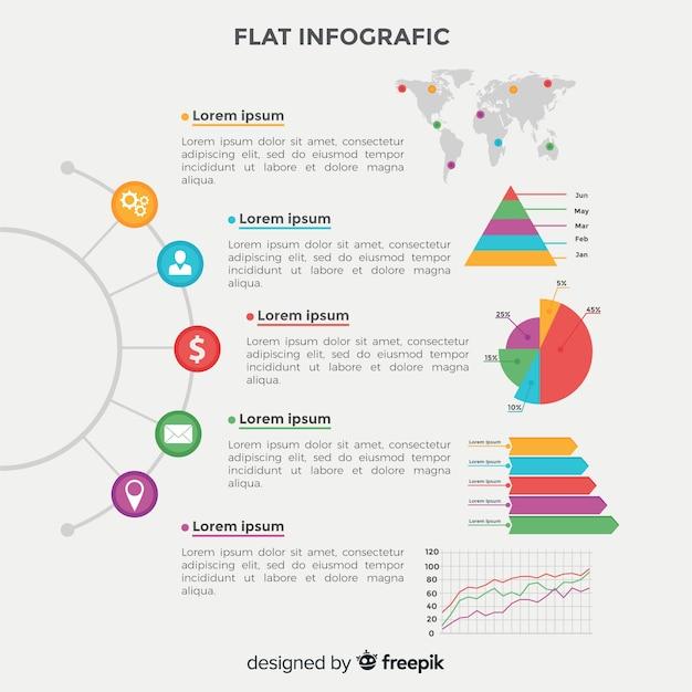 Vlakke infographic Gratis Vector