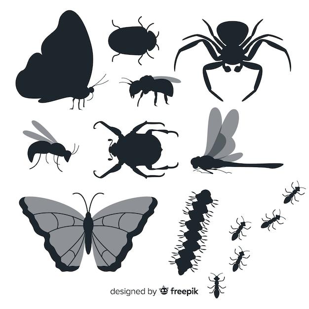 Vlakke insecten silhouet collectie Gratis Vector