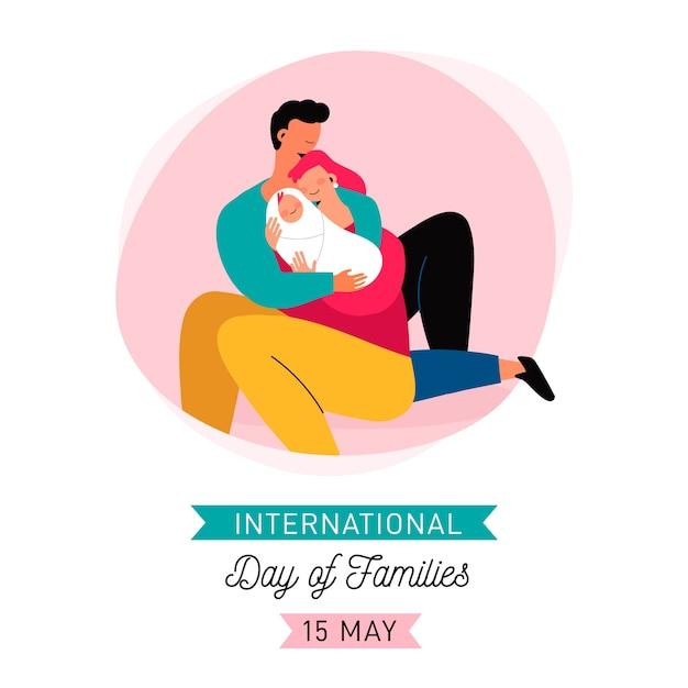 Vlakke internationale dag van gezinnen Gratis Vector