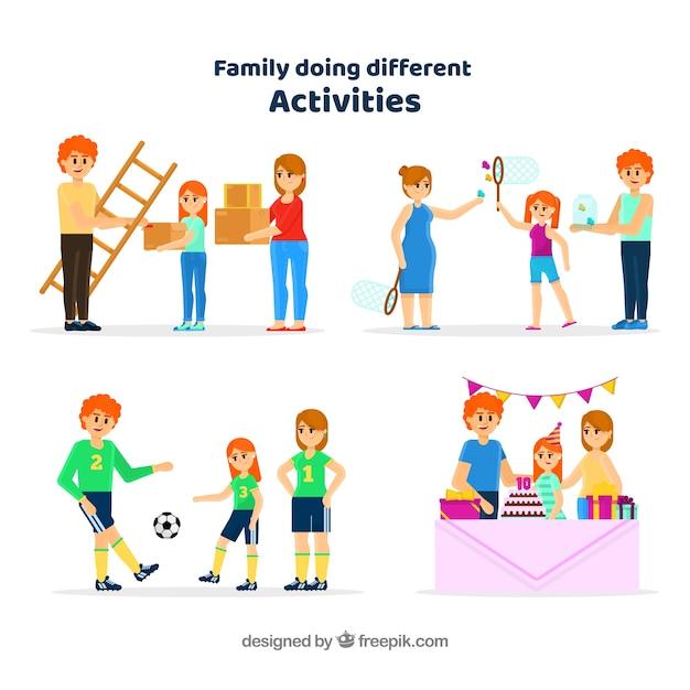 Vlakke inzameling van familie die verschillende activiteiten doet Gratis Vector