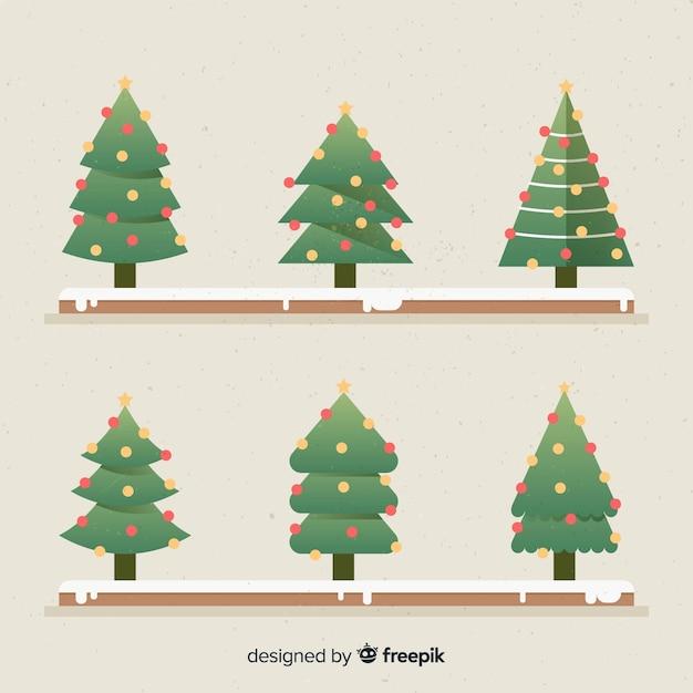 Vlakke kerstboom collectie Gratis Vector