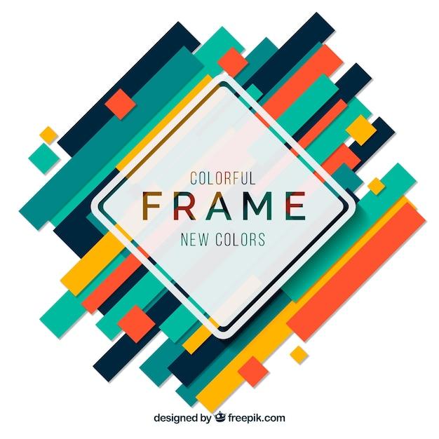 Vlakke kleurrijke frames-collectie Gratis Vector