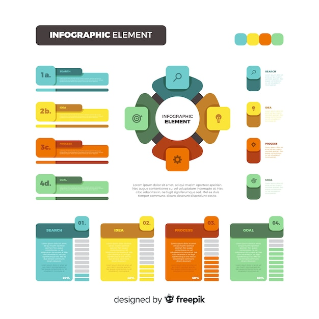 Vlakke kleurrijke infographic elementeninzameling Gratis Vector