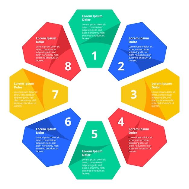 Vlakke kleurrijke infographic stappen Gratis Vector