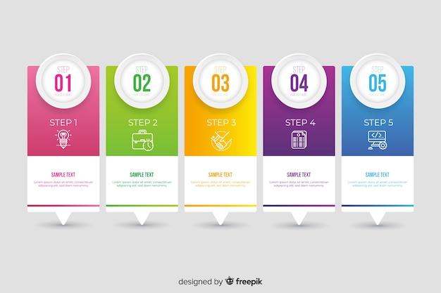 Vlakke kleurrijke infographic stappeninzameling Gratis Vector