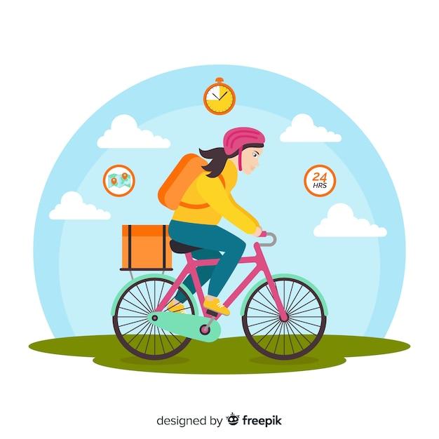 Vlakke leveringsmeisje op fietsachtergrond Gratis Vector