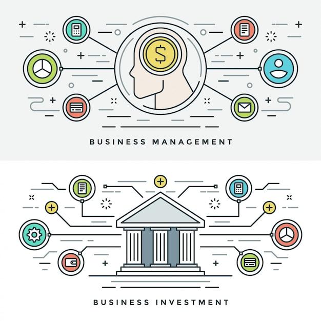 Vlakke lijn investeringen en bedrijfsbeheer Premium Vector