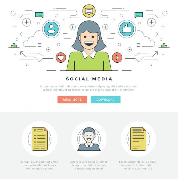 Vlakke lijn sociale media concept en lijnstijl iconen ontwerp. Premium Vector