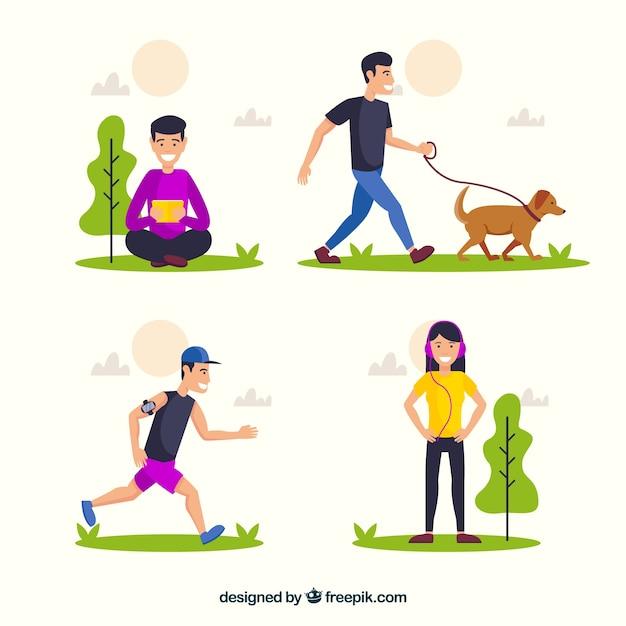 Vlakke mensen die vrije tijd buitenactiviteiten doen Gratis Vector
