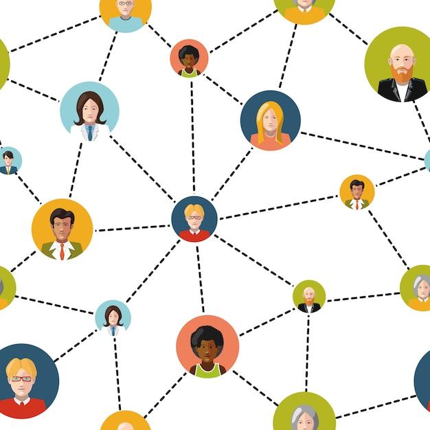 Vlakke mensenavatars in sociaal netwerk op witte achtergrond, naadloos patroon Premium Vector