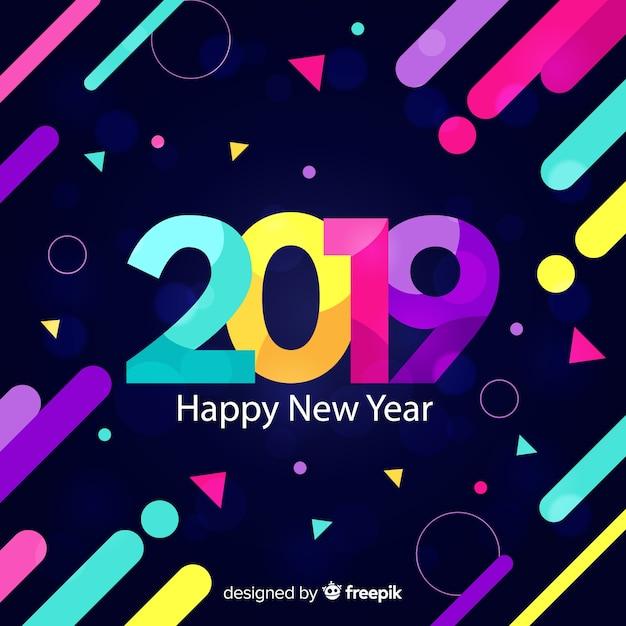 Vlakke nieuwe jaar 2019 achtergrond Gratis Vector