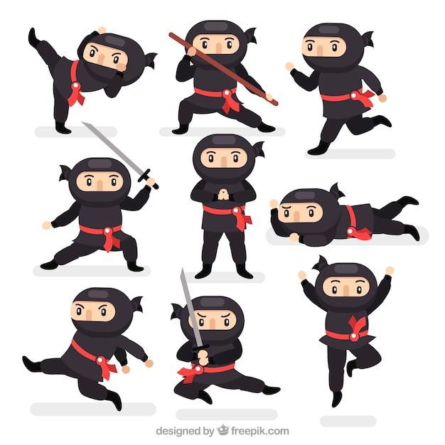 Vlakke ninjakarakterinzameling in verschillende stellen Premium Vector