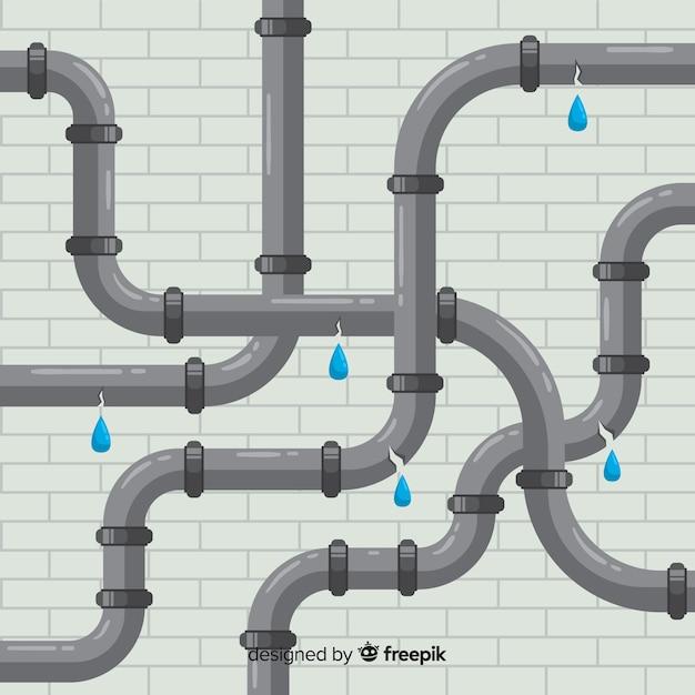 Vlakke ontwerp gebroken pijpen die water lekken Gratis Vector