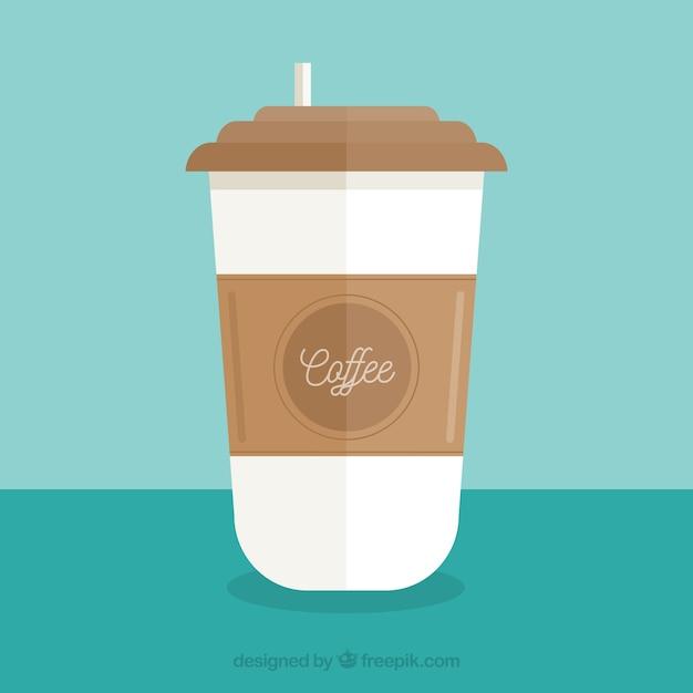 Vlakke papieren koffiekop met vooraanzicht Gratis Vector