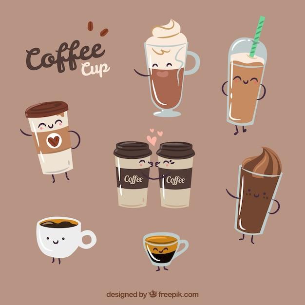 Vlakke papieren koffiekop Gratis Vector