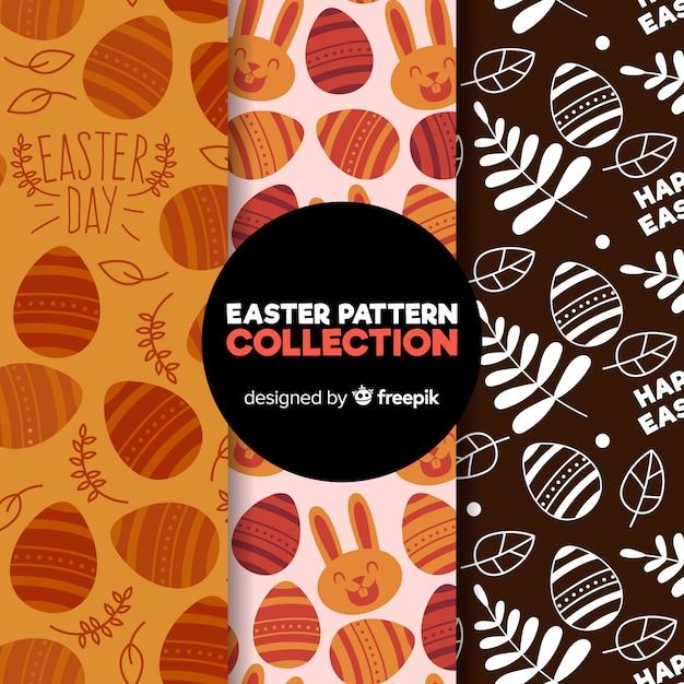 Vlakke pasen-patrooninzameling Gratis Vector
