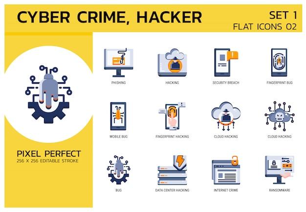 Vlakke pictogrammen stijl. hacker cyber misdaadaanval Premium Vector